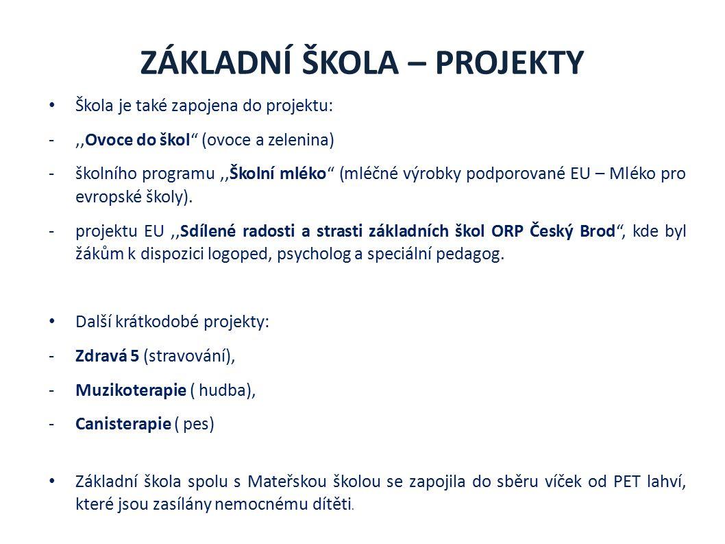 ZÁKLADNÍ ŠKOLA – PROJEKTY Škola je také zapojena do projektu: -,,Ovoce do škol (ovoce a zelenina) -školního programu,,Školní mléko (mléčné výrobky podporované EU – Mléko pro evropské školy).