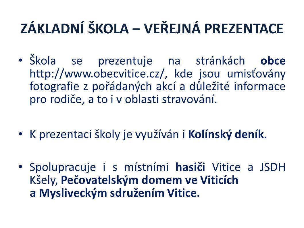 ZÁKLADNÍ ŠKOLA – VEŘEJNÁ PREZENTACE Škola se prezentuje na stránkách obce http://www.obecvitice.cz/, kde jsou umisťovány fotografie z pořádaných akcí a důležité informace pro rodiče, a to i v oblasti stravování.
