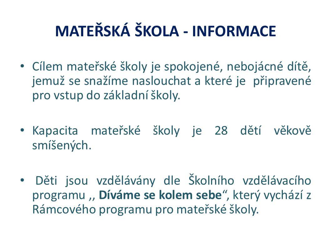 MATEŘSKÁ ŠKOLA - INFORMACE Cílem mateřské školy je spokojené, nebojácné dítě, jemuž se snažíme naslouchat a které je připravené pro vstup do základní školy.