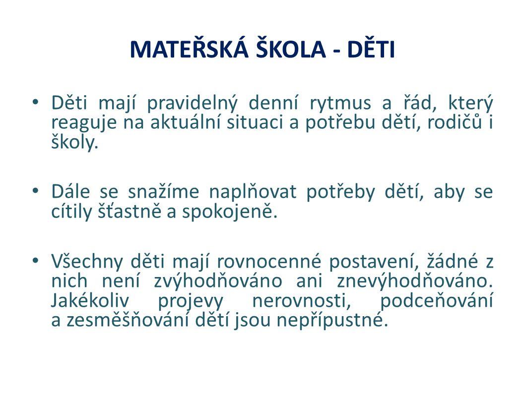 MATEŘSKÁ ŠKOLA - DĚTI Děti mají pravidelný denní rytmus a řád, který reaguje na aktuální situaci a potřebu dětí, rodičů i školy.