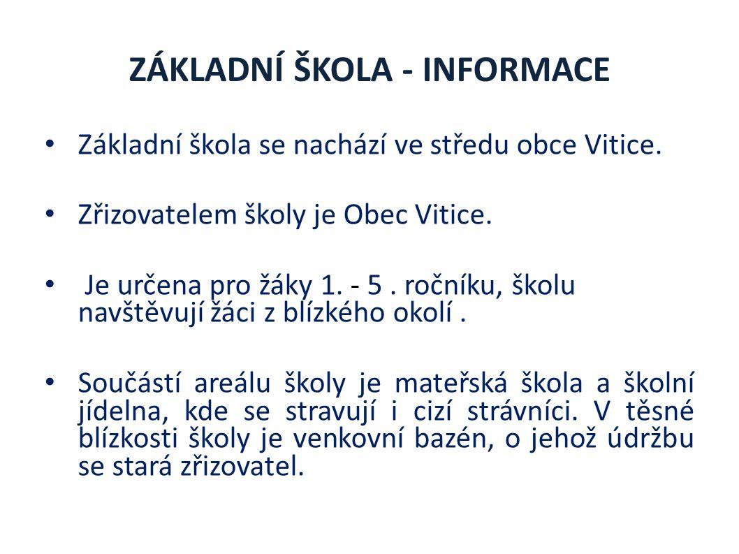 ZÁKLADNÍ ŠKOLA - INFORMACE Základní škola se nachází ve středu obce Vitice.
