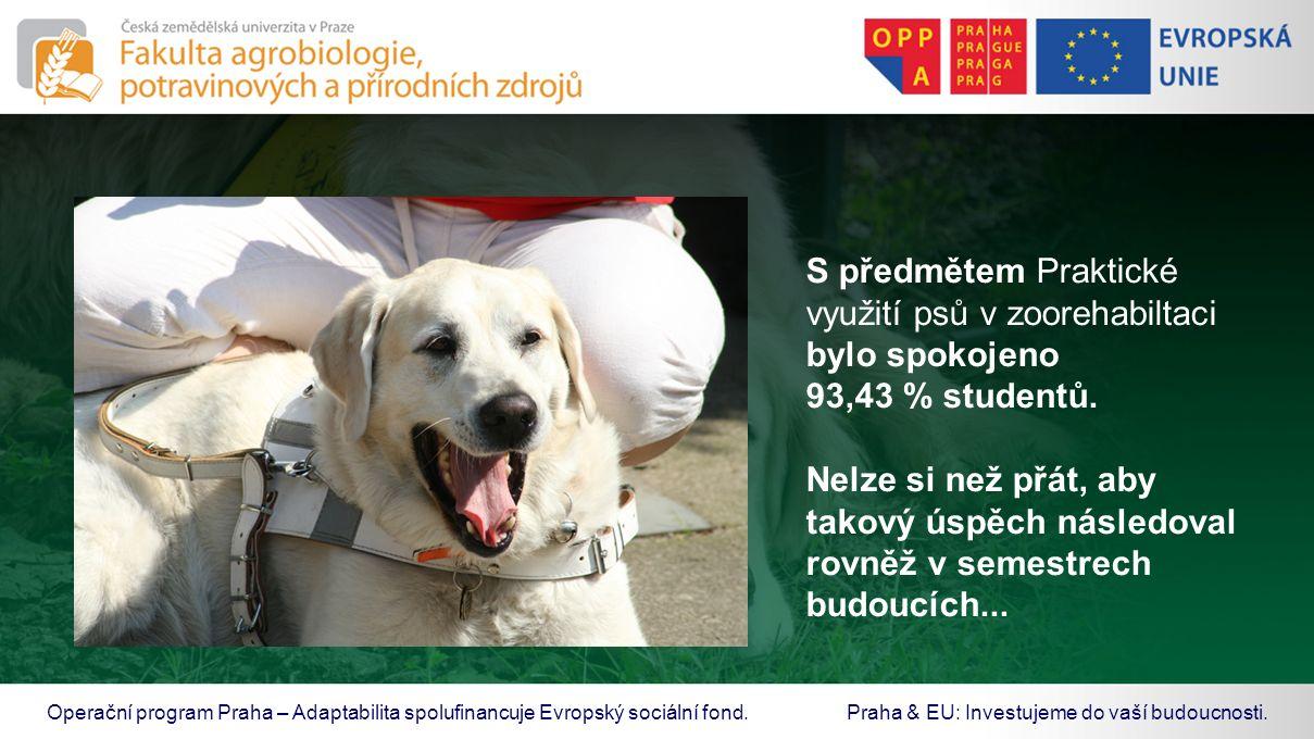 S předmětem Praktické využití psů v zoorehabiltaci bylo spokojeno 93,43 % studentů. Nelze si než přát, aby takový úspěch následoval rovněž v semestrec