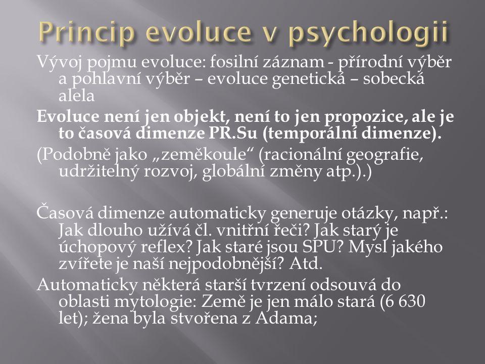 Vývoj pojmu evoluce: fosilní záznam - přírodní výběr a pohlavní výběr – evoluce genetická – sobecká alela Evoluce není jen objekt, není to jen propozice, ale je to časová dimenze PR.Su (temporální dimenze).
