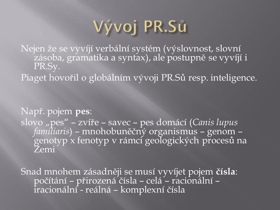 Nejen že se vyvíjí verbální systém (výslovnost, slovní zásoba, gramatika a syntax), ale postupně se vyvíjí i PR.Sy. Piaget hovořil o globálním vývoji