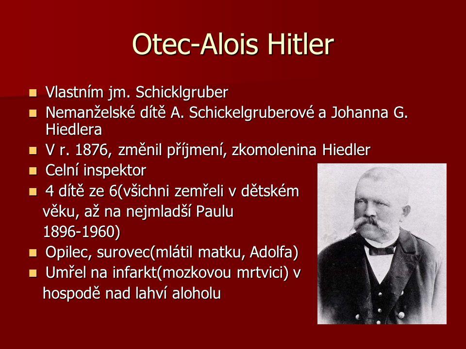 Otec-Alois Hitler Vlastním jm. Schicklgruber Vlastním jm. Schicklgruber Nemanželské dítě A. Schickelgruberové a Johanna G. Hiedlera Nemanželské dítě A