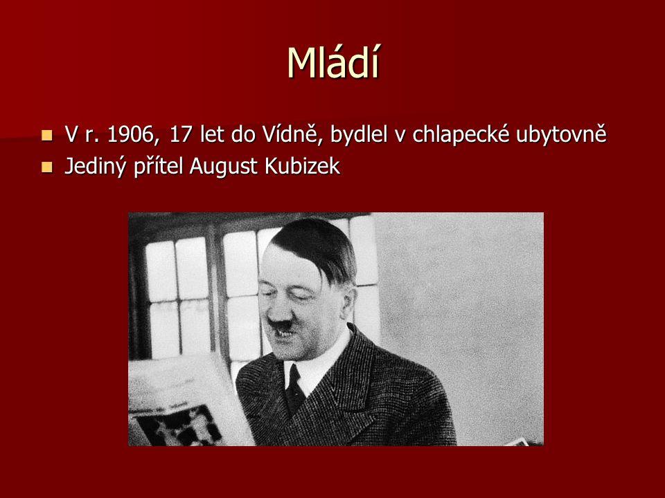 Mládí V r. 1906, 17 let do Vídně, bydlel v chlapecké ubytovně V r. 1906, 17 let do Vídně, bydlel v chlapecké ubytovně Jediný přítel August Kubizek Jed