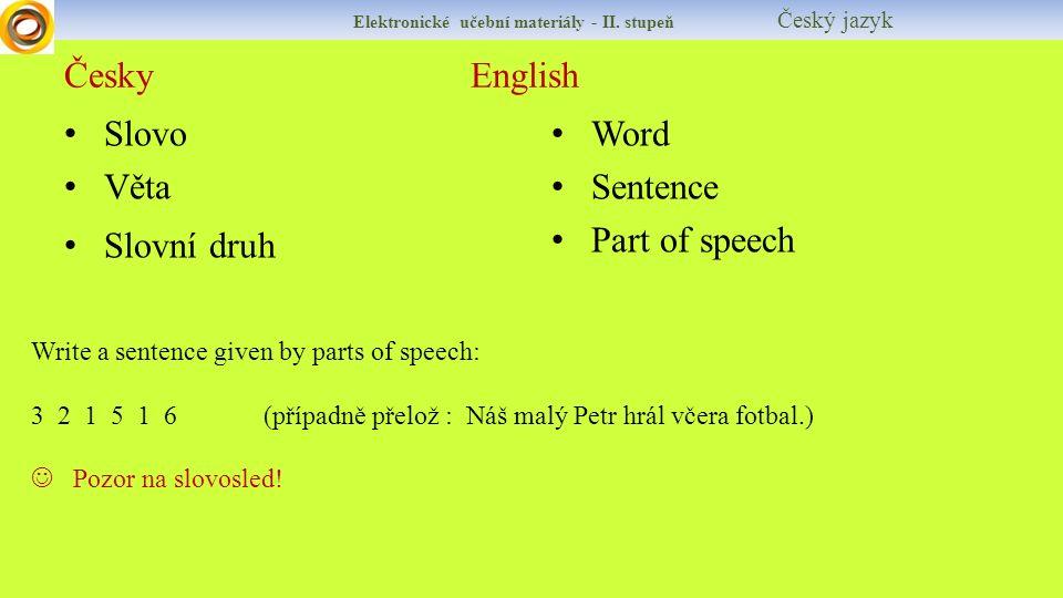 Česky English Slovo Věta Slovní druh Word Sentence Part of speech Elektronické učební materiály - II.