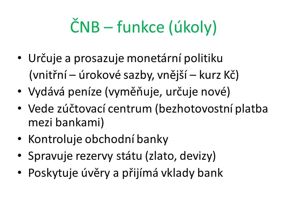 ČNB – funkce (úkoly) Určuje a prosazuje monetární politiku (vnitřní – úrokové sazby, vnější – kurz Kč) Vydává peníze (vyměňuje, určuje nové) Vede zúčtovací centrum (bezhotovostní platba mezi bankami) Kontroluje obchodní banky Spravuje rezervy státu (zlato, devizy) Poskytuje úvěry a přijímá vklady bank