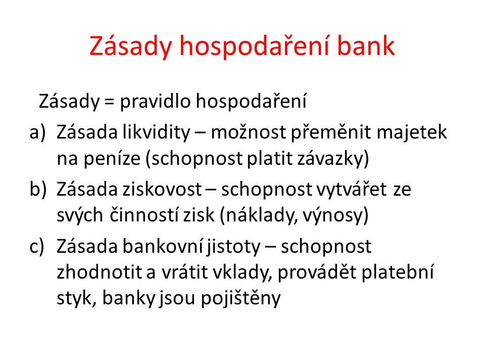 Zásady hospodaření bank Zásady = pravidlo hospodaření a)Zásada likvidity – možnost přeměnit majetek na peníze (schopnost platit závazky) b)Zásada ziskovost – schopnost vytvářet ze svých činností zisk (náklady, výnosy) c)Zásada bankovní jistoty – schopnost zhodnotit a vrátit vklady, provádět platební styk, banky jsou pojištěny
