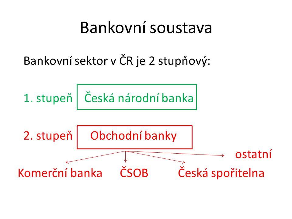 Bankovní soustava Bankovní sektor v ČR je 2 stupňový: 1. stupeň Česká národní banka 2. stupeň Obchodní banky ostatní Komerční banka ČSOB Česká spořite