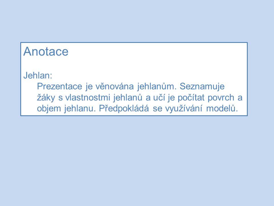 Anotace Jehlan: Prezentace je věnována jehlanům.
