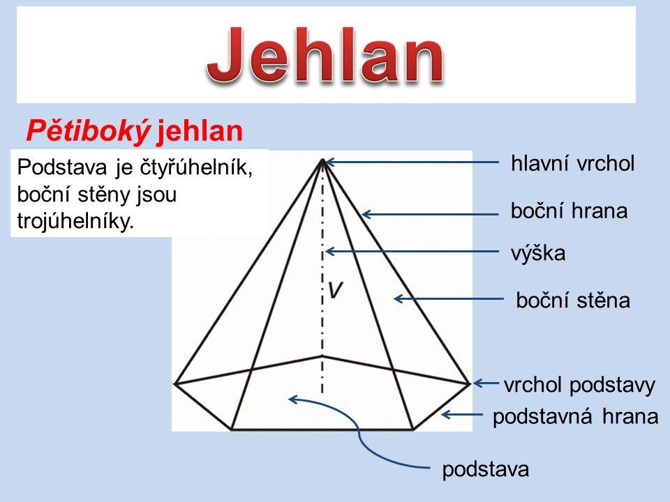 Pravidelný čtyřboký jehlan Pravidelný čtyřboký jehlan má čtvercovou podstavu a přímka procházející hlavním vrcholem a průsečíkem úhlopříček podstavy je k oběma úhlopříčkám kolmá.