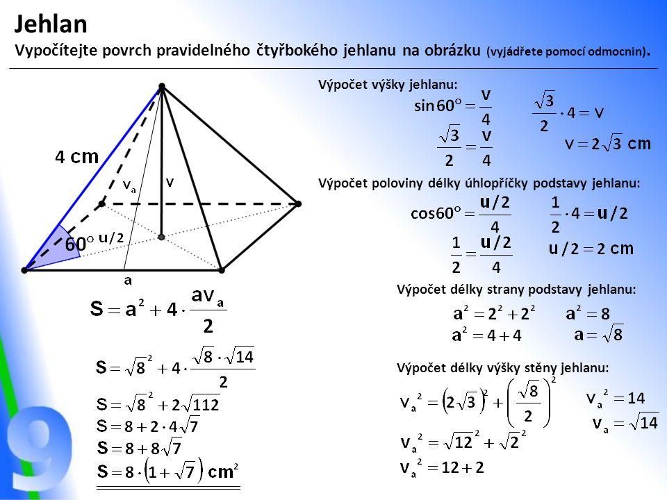Jehlan Vypočítejte povrch pravidelného čtyřbokého jehlanu na obrázku (vyjádřete pomocí odmocnin).