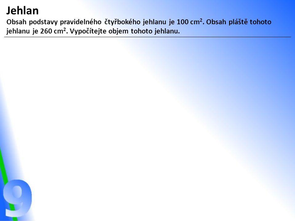 Jehlan Obsah podstavy pravidelného čtyřbokého jehlanu je 100 cm 2.