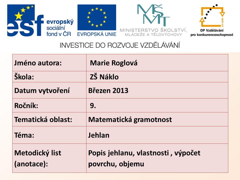 Jméno autora: Marie Roglová Škola: ZŠ Náklo Datum vytvořeníBřezen 2013 Ročník: 9.