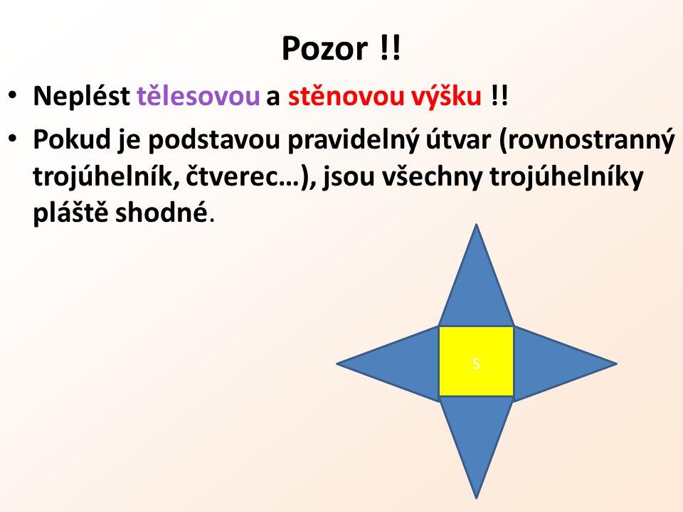 Pozor !! Neplést tělesovou a stěnovou výšku !! Pokud je podstavou pravidelný útvar (rovnostranný trojúhelník, čtverec…), jsou všechny trojúhelníky plá