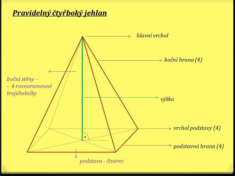 Pravidelný čtyřboký jehlan. hlavní vrchol boční hrana (4) výška vrchol podstavy (4) podstavná hrana (4) boční stěny – - 4 rovnoramenné trojúhelníky po