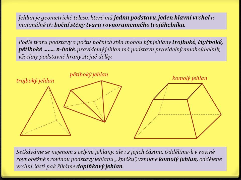 Jehlan je geometrické těleso, které má jednu podstavu, jeden hlavní vrchol a minimálně tři boční stěny tvaru rovnoramenného trojúhelníku. Podle tvaru