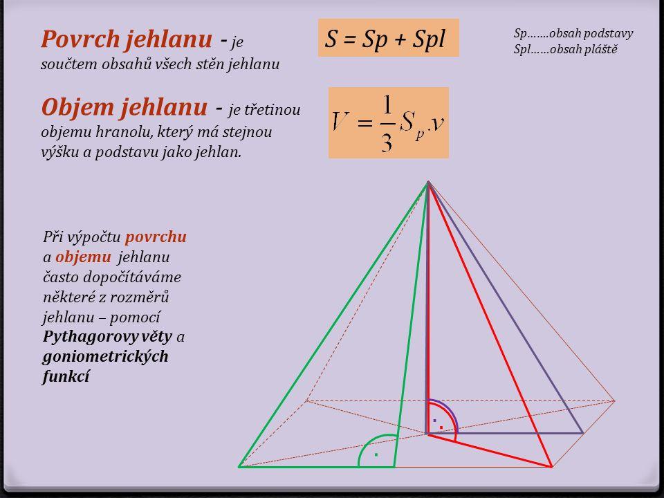 S = Sp + Spl Objem jehlanu - je třetinou objemu hranolu, který má stejnou výšku a podstavu jako jehlan. Povrch jehlanu - je součtem obsahů všech stěn