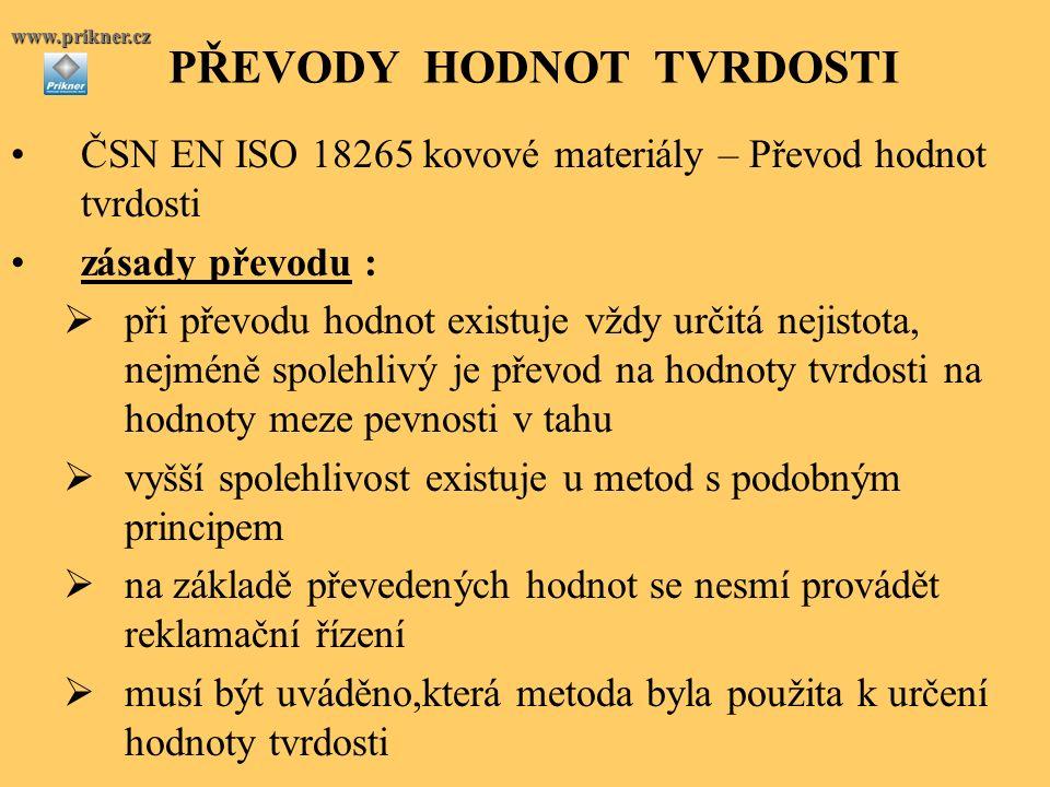PŘEVODY HODNOT TVRDOSTIwww.prikner.cz ČSN EN ISO 18265 kovové materiály – Převod hodnot tvrdosti zásady převodu :  při převodu hodnot existuje vždy u