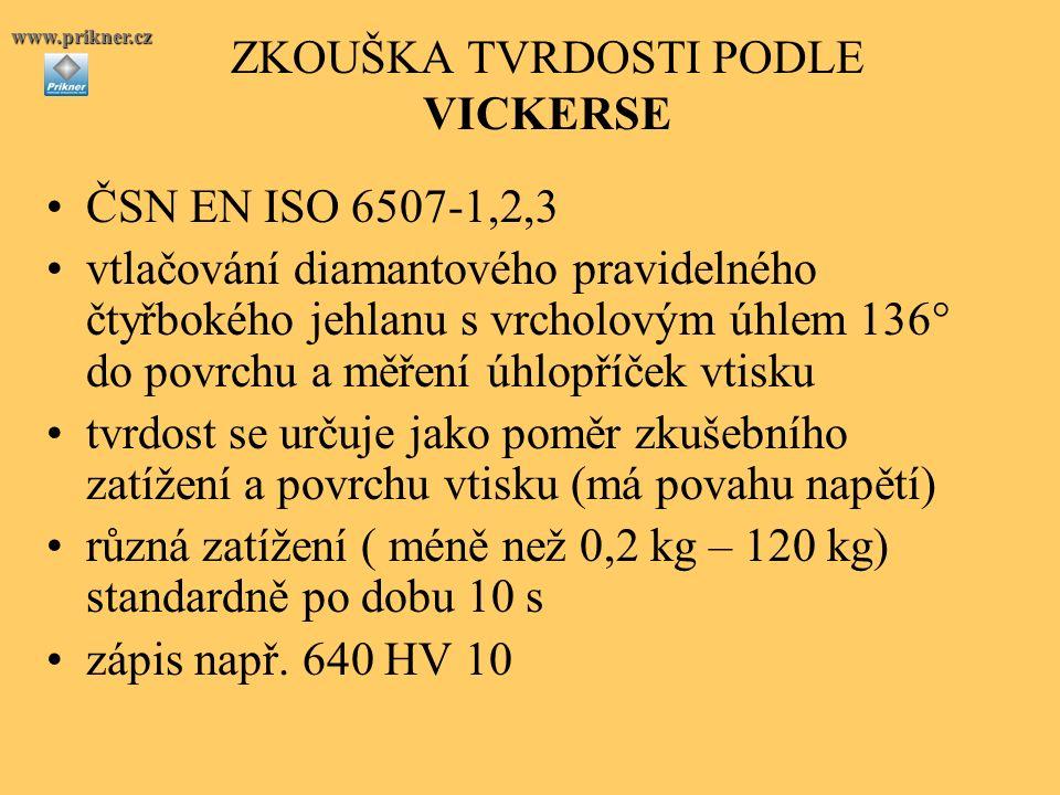 ZKOUŠKA TVRDOSTI PODLE VICKERSE ČSN EN ISO 6507-1,2,3 vtlačování diamantového pravidelného čtyřbokého jehlanu s vrcholovým úhlem 136° do povrchu a měření úhlopříček vtisku tvrdost se určuje jako poměr zkušebního zatížení a povrchu vtisku (má povahu napětí) různá zatížení ( méně než 0,2 kg – 120 kg) standardně po dobu 10 s zápis např.