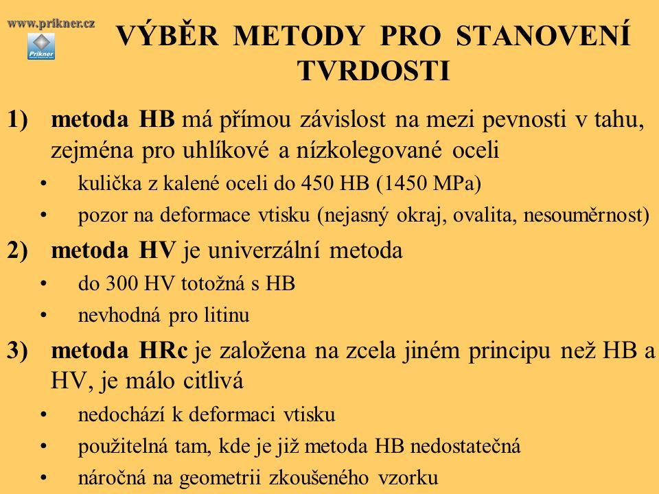 VÝBĚR METODY PRO STANOVENÍ TVRDOSTI 1)metoda HB má přímou závislost na mezi pevnosti v tahu, zejména pro uhlíkové a nízkolegované oceli kulička z kalené oceli do 450 HB (1450 MPa) pozor na deformace vtisku (nejasný okraj, ovalita, nesouměrnost) 2)metoda HV je univerzální metoda do 300 HV totožná s HB nevhodná pro litinu 3)metoda HRc je založena na zcela jiném principu než HB a HV, je málo citlivá nedochází k deformaci vtisku použitelná tam, kde je již metoda HB nedostatečná náročná na geometrii zkoušeného vzorku www.prikner.cz