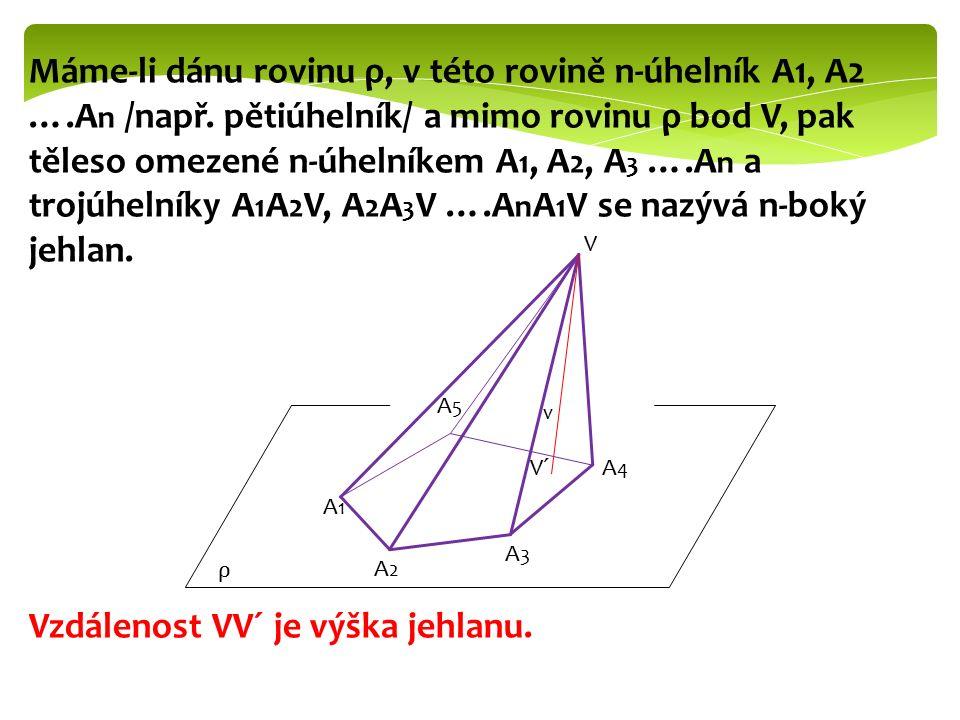 Máme-li dánu rovinu ρ, v této rovině n-úhelník A1, A2 ….A n /např. pětiúhelník/ a mimo rovinu ρ bod V, pak těleso omezené n-úhelníkem A 1, A 2, A 3 ….