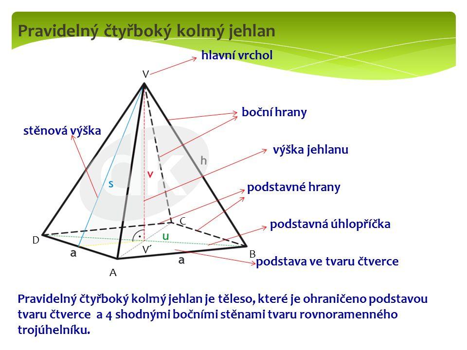 Pravidelný čtyřboký kolmý jehlan hlavní vrchol boční hrany stěnová výška výška jehlanu podstavné hrany podstavná úhlopříčka podstava ve tvaru čtverce Pravidelný čtyřboký kolmý jehlan je těleso, které je ohraničeno podstavou tvaru čtverce a 4 shodnými bočními stěnami tvaru rovnoramenného trojúhelníku.