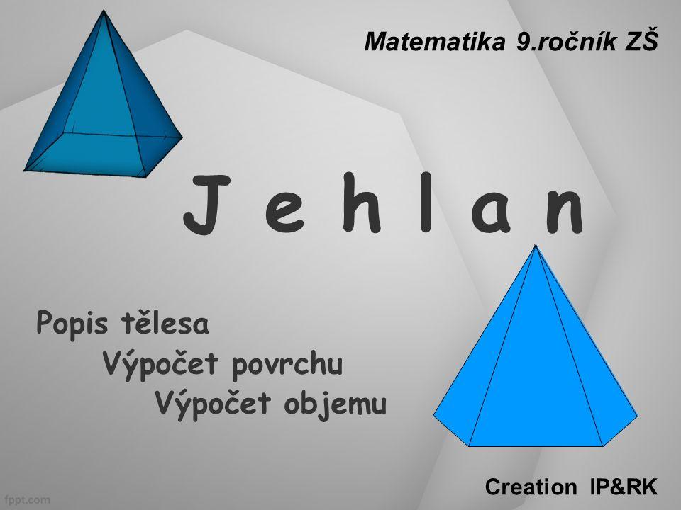 Jehlan – povrch tělesa V v C B A D jehlan čtyřboký: podstava: obdélník plášť: rovnoramenné trojúhelníky ( dva a dva shodné )