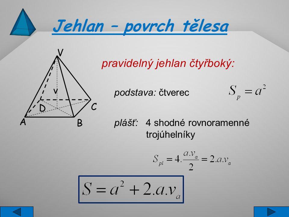 Jehlan – povrch tělesa V v C B A D pravidelný jehlan čtyřboký: podstava: čtverec plášť: 4 shodné rovnoramenné trojúhelníky