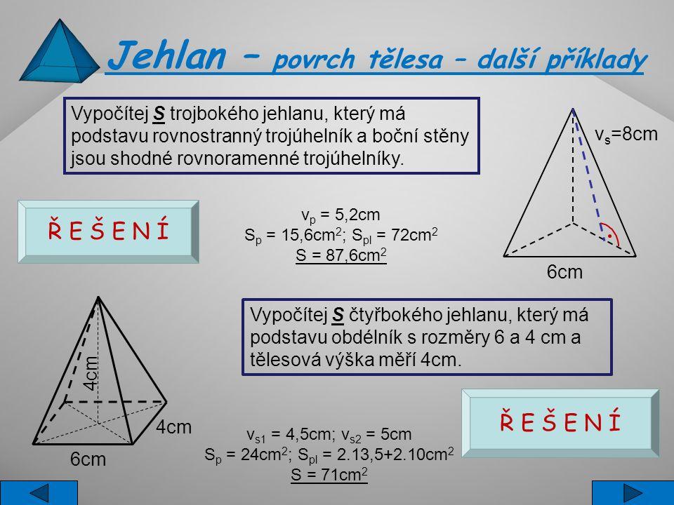 Jehlan – povrch tělesa – další příklady Vypočítej S čtyřbokého jehlanu, který má podstavu obdélník s rozměry 6 a 4 cm a tělesová výška měří 4cm. v s1