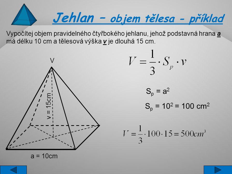 Vypočítej objem pravidelného čtyřbokého jehlanu, jehož podstavná hrana a má délku 10 cm a tělesová výška v je dlouhá 15 cm. S p = a 2 S p = 10 2 = 100