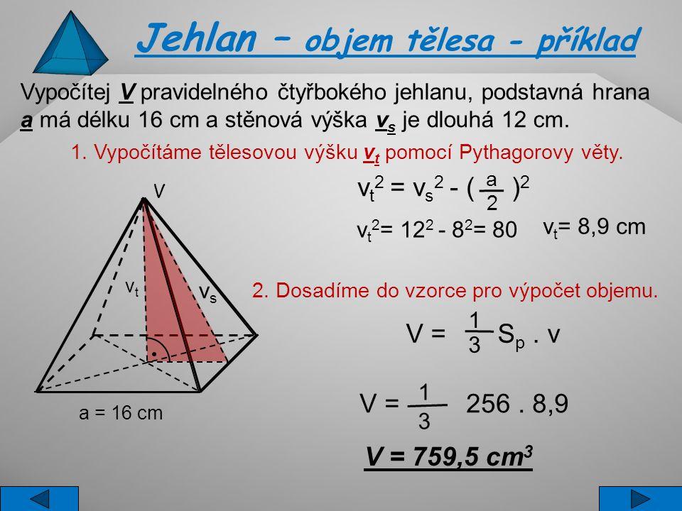Jehlan – objem tělesa - příklad Vypočítej V pravidelného čtyřbokého jehlanu, podstavná hrana a má délku 16 cm a stěnová výška v s je dlouhá 12 cm. 1.
