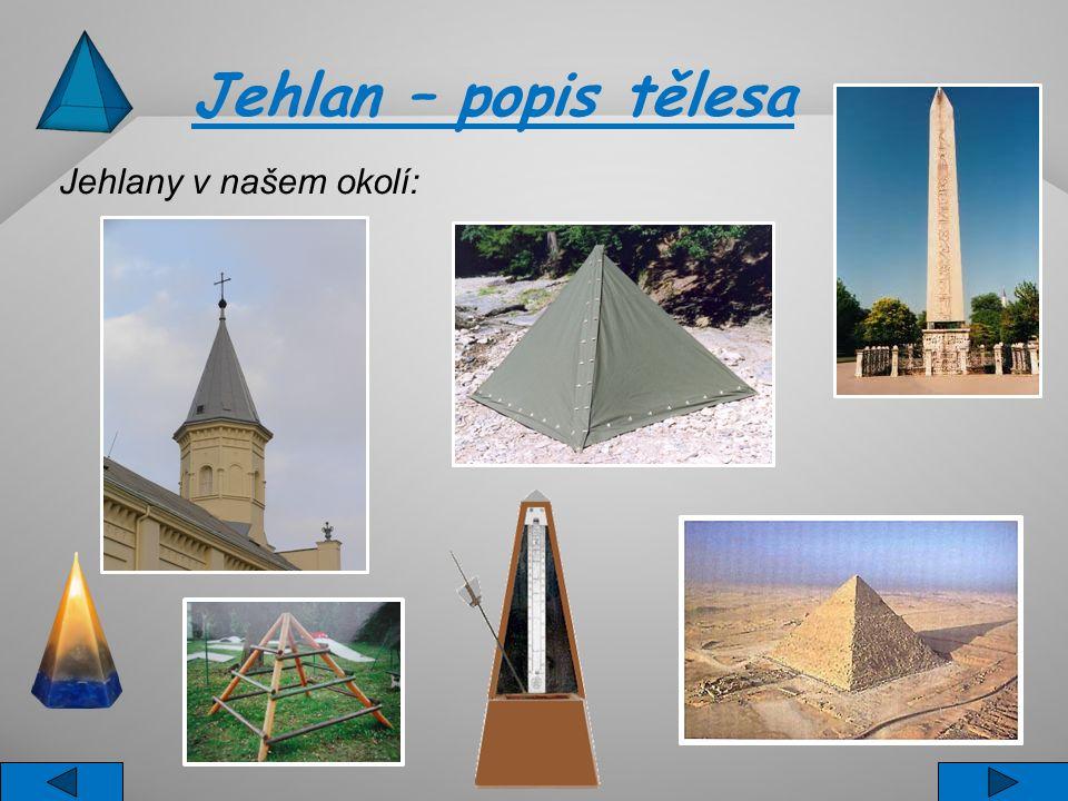 Jehlan – popis tělesa Jehlan je těleso s jednou podstavou, kterou může být trojúhelník, čtyřúhelník ( čtverec, obdélník,...), pětiúhelník,.....
