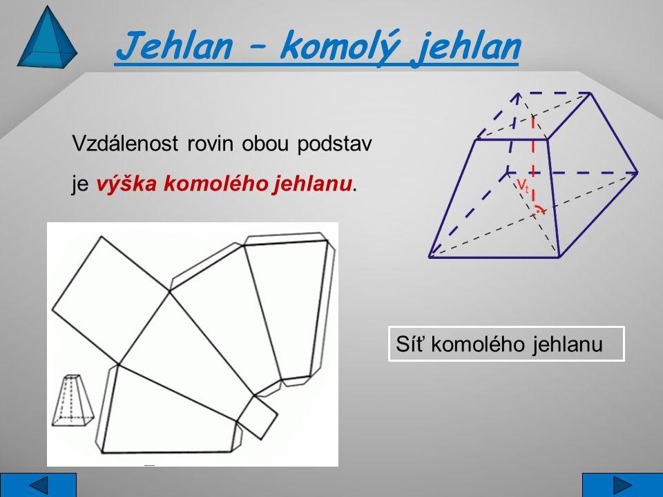 Vzdálenost rovin obou podstav je výška komolého jehlanu. Jehlan – komolý jehlan Síť komolého jehlanu