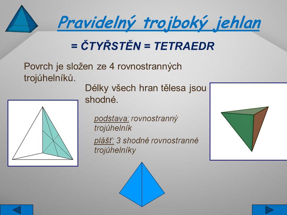 Pravidelný trojboký jehlan Povrch je složen ze 4 rovnostranných trojúhelníků. Délky všech hran tělesa jsou shodné. podstava: rovnostranný trojúhelník