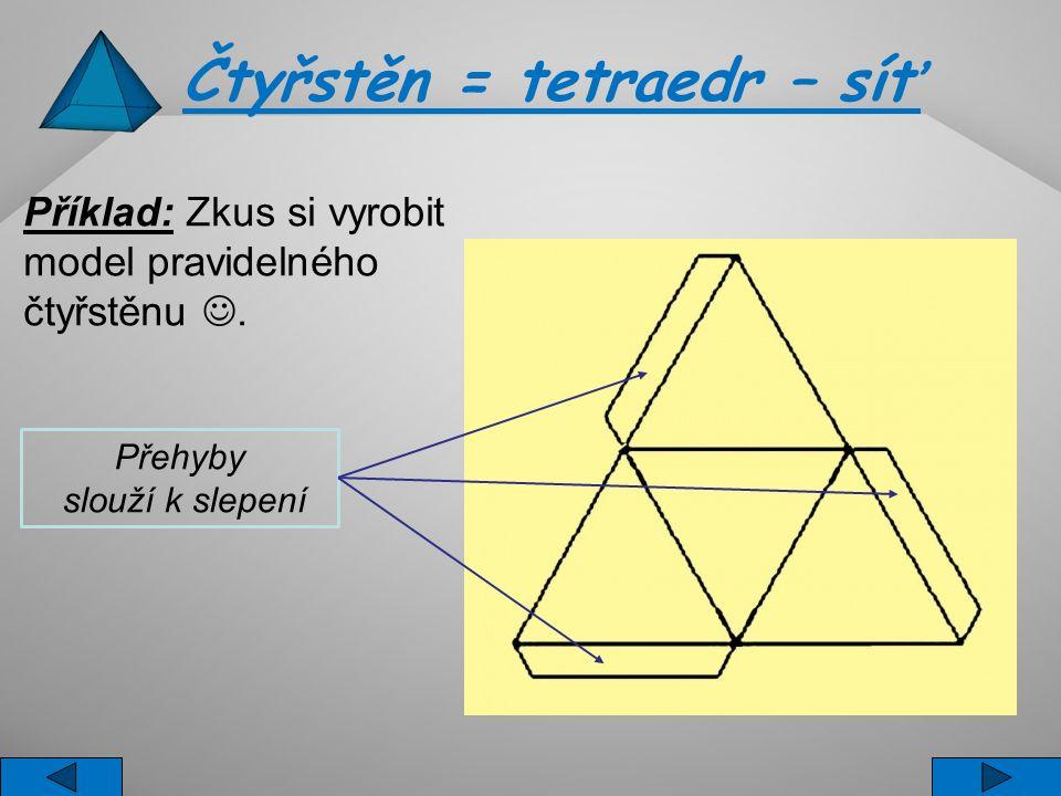 Čtyřstěn = tetraedr – síť Příklad: Zkus si vyrobit model pravidelného čtyřstěnu. Přehyby slouží k slepení