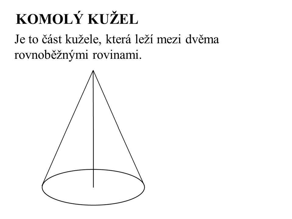 KOMOLÝ KUŽEL Je to část kužele, která leží mezi dvěma rovnoběžnými rovinami.