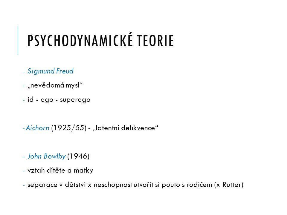 """PSYCHODYNAMICKÉ TEORIE - Sigmund Freud - """"nevědomá mysl - id - ego - superego -Aichorn (1925/55) - """"latentní delikvence - John Bowlby (1946) - vztah dítěte a matky - separace v dětství x neschopnost utvořit si pouto s rodičem (x Rutter)"""