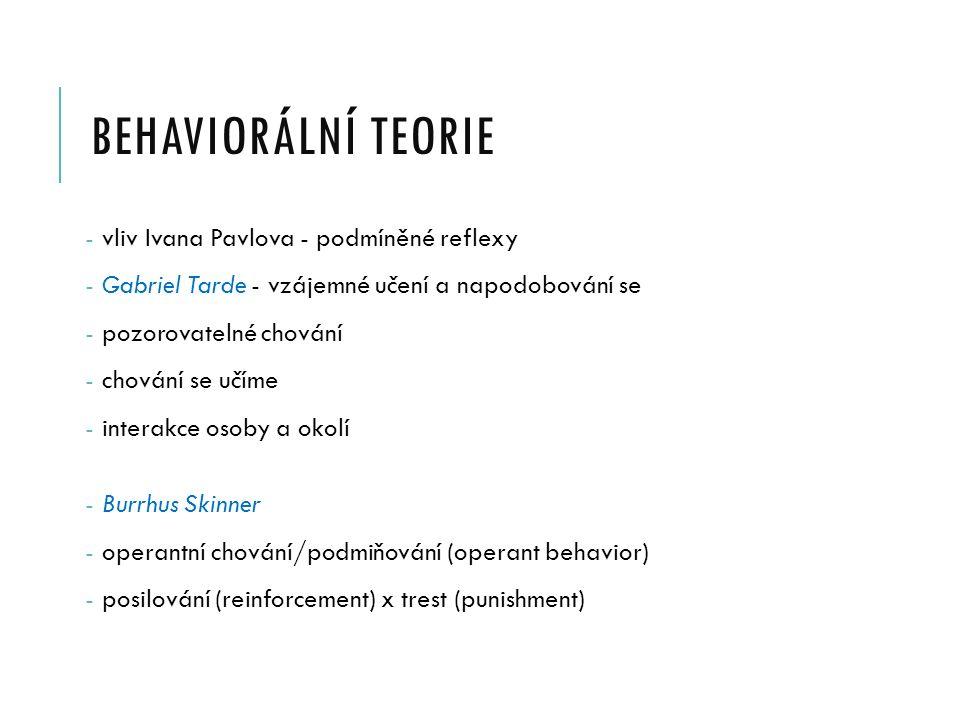 BEHAVIORÁLNÍ TEORIE - vliv Ivana Pavlova - podmíněné reflexy - Gabriel Tarde - vzájemné učení a napodobování se - pozorovatelné chování - chování se učíme - interakce osoby a okolí - Burrhus Skinner - operantní chování/podmiňování (operant behavior) - posilování (reinforcement) x trest (punishment)