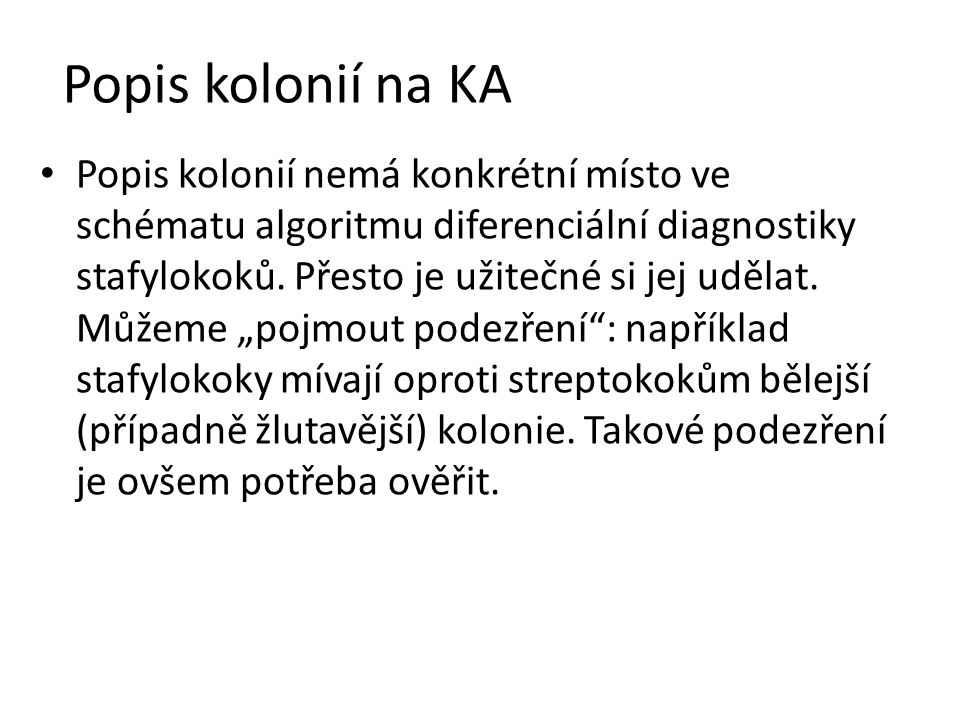Popis kolonií na KA Popis kolonií nemá konkrétní místo ve schématu algoritmu diferenciální diagnostiky stafylokoků. Přesto je užitečné si jej udělat.