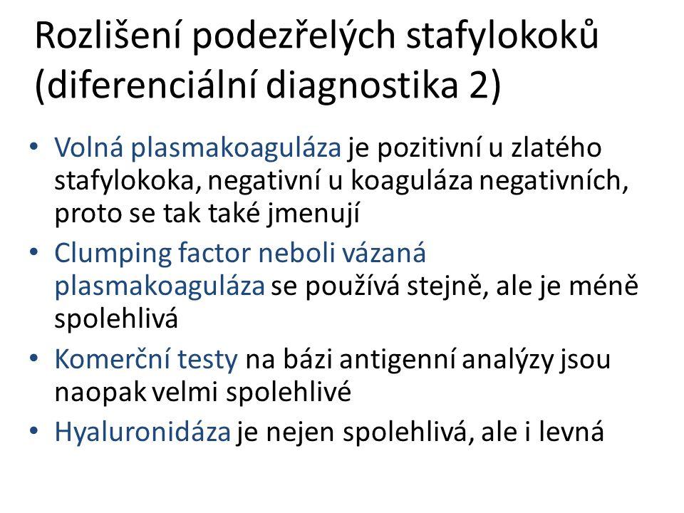 Rozlišení podezřelých stafylokoků (diferenciální diagnostika 2) Volná plasmakoaguláza je pozitivní u zlatého stafylokoka, negativní u koaguláza negativních, proto se tak také jmenují Clumping factor neboli vázaná plasmakoaguláza se používá stejně, ale je méně spolehlivá Komerční testy na bázi antigenní analýzy jsou naopak velmi spolehlivé Hyaluronidáza je nejen spolehlivá, ale i levná