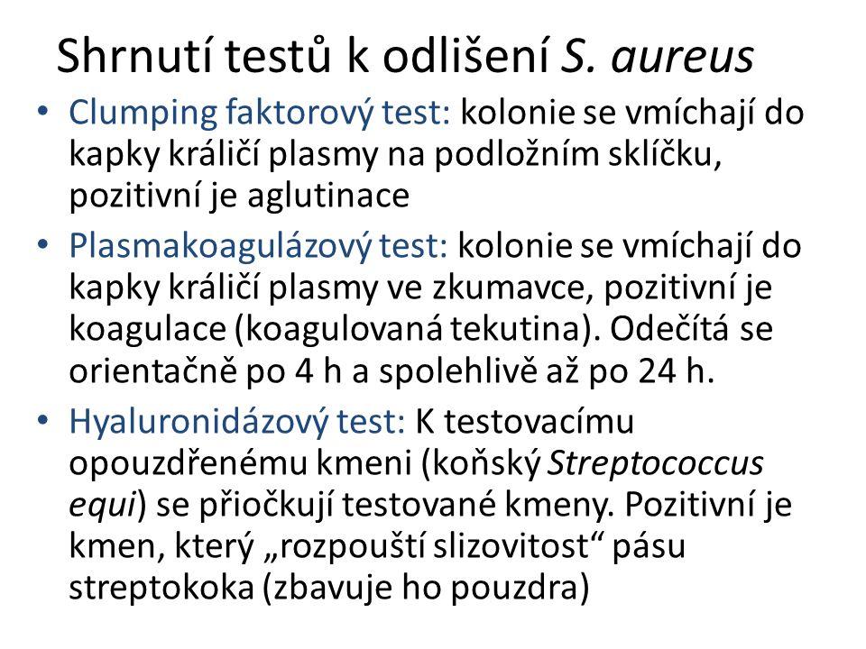 Shrnutí testů k odlišení S.
