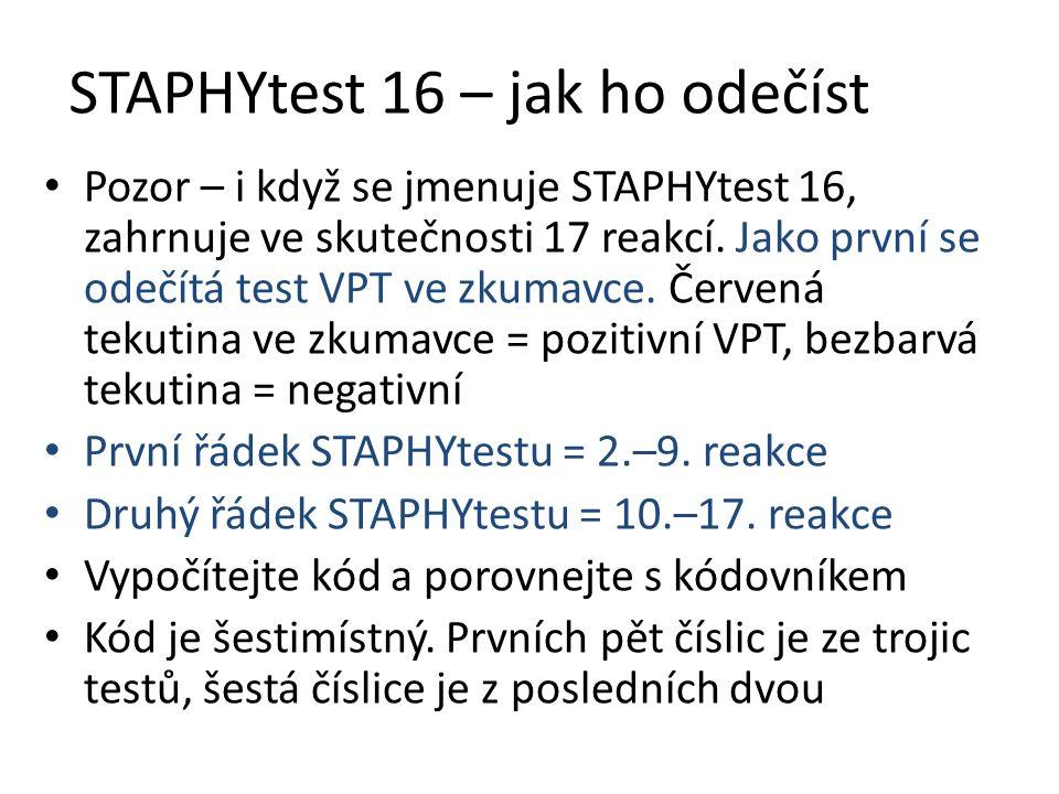 STAPHYtest 16 – jak ho odečíst Pozor – i když se jmenuje STAPHYtest 16, zahrnuje ve skutečnosti 17 reakcí. Jako první se odečítá test VPT ve zkumavce.