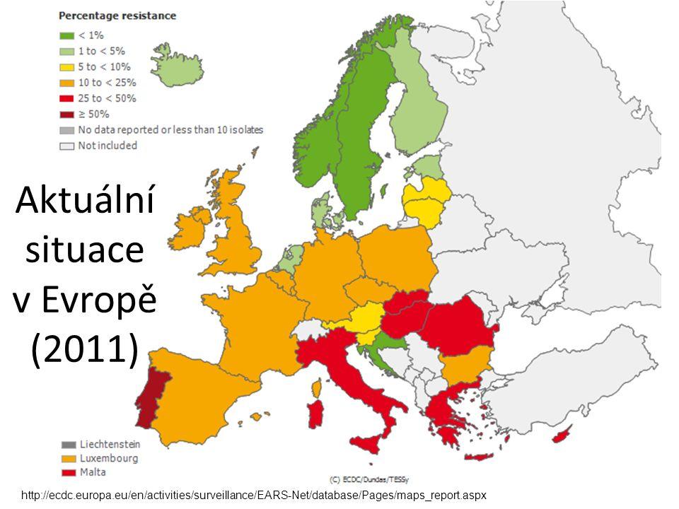 Aktuální situace v Evropě (2011) http://ecdc.europa.eu/en/activities/surveillance/EARS-Net/database/Pages/maps_report.aspx