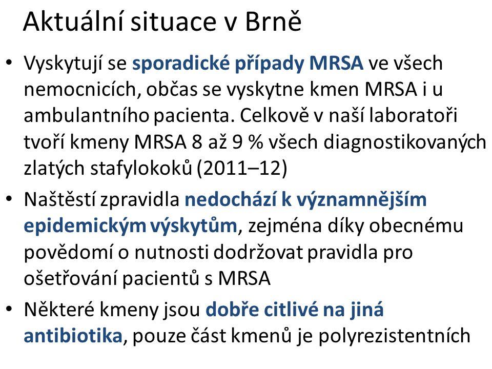 Aktuální situace v Brně Vyskytují se sporadické případy MRSA ve všech nemocnicích, občas se vyskytne kmen MRSA i u ambulantního pacienta. Celkově v na