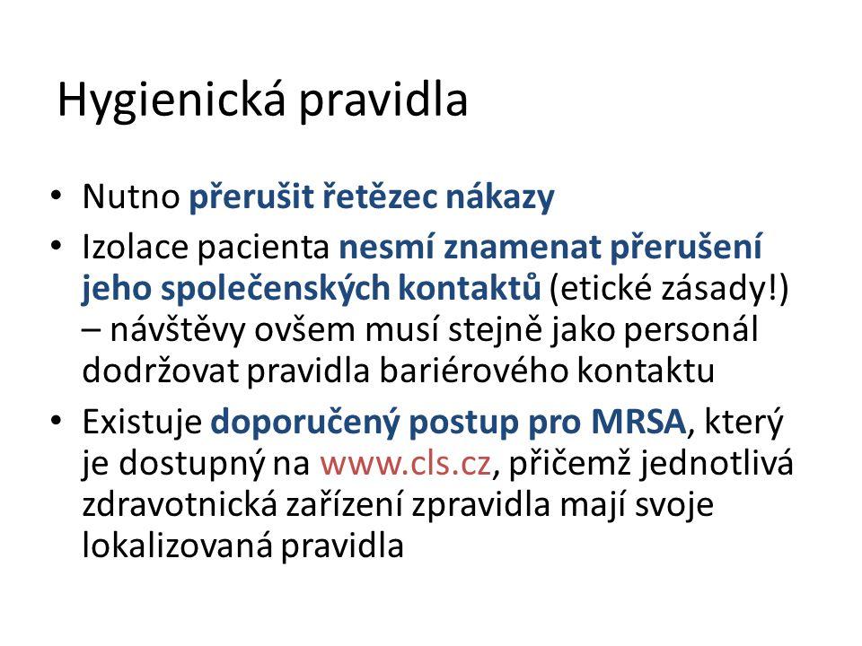 Hygienická pravidla Nutno přerušit řetězec nákazy Izolace pacienta nesmí znamenat přerušení jeho společenských kontaktů (etické zásady!) – návštěvy ovšem musí stejně jako personál dodržovat pravidla bariérového kontaktu Existuje doporučený postup pro MRSA, který je dostupný na www.cls.cz, přičemž jednotlivá zdravotnická zařízení zpravidla mají svoje lokalizovaná pravidla