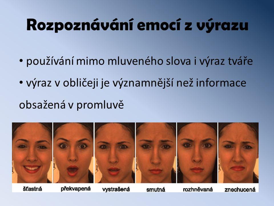 Rozpoznávání emocí z výrazu používání mimo mluveného slova i výraz tváře výraz v obličeji je významnější než informace obsažená v promluvě