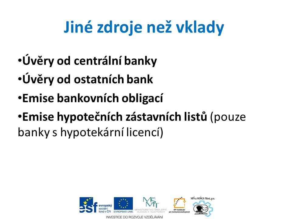 Jiné zdroje než vklady Úvěry od centrální banky Úvěry od ostatních bank Emise bankovních obligací Emise hypotečních zástavních listů (pouze banky s hy