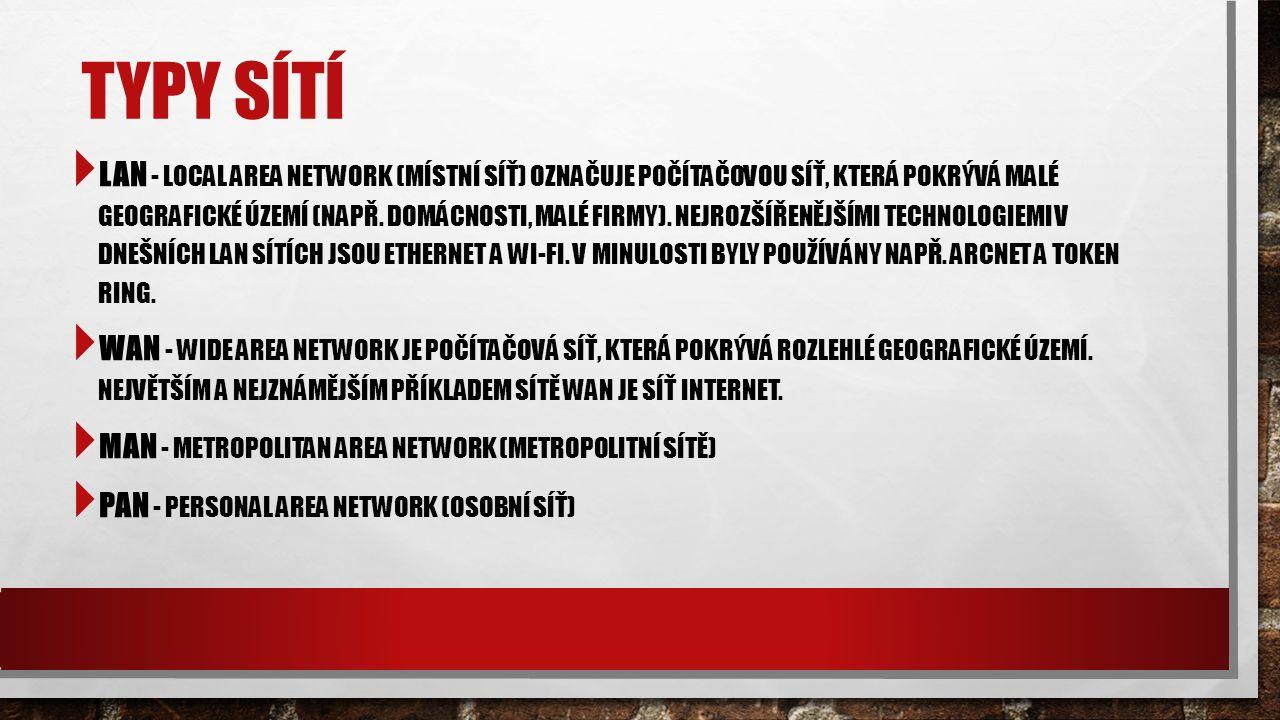 TYPY SÍTÍ  LAN - LOCAL AREA NETWORK (MÍSTNÍ SÍŤ) OZNAČUJE POČÍTAČOVOU SÍŤ, KTERÁ POKRÝVÁ MALÉ GEOGRAFICKÉ ÚZEMÍ (NAPŘ.
